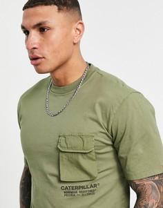 Зеленая футболка с карманом в стиле спецодежды Caterpillar-Зеленый цвет