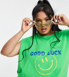 Майка в стиле oversized и в винтажном стиле с принтом «Good luck» Native Youth Plus-Зеленый цвет
