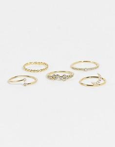 Набор золотистых колец с декором в виде луны с камнями ALDO Larendaven-Золотистый