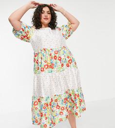 Платье миди с присборенной юбкой и комбинированными принтами в цветочек и горошек в стиле пэчворк Twisted Wunder Plus-Многоцветный
