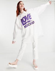 Белая oversized-рубашка с логотипом Love Moschino-Белый
