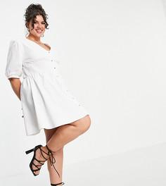 Белое платье на пуговицах Saint Genies Plus-Белый