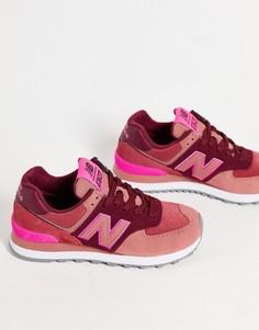 Розовые кроссовки в стиле колор блок New Balance 574-Розовый цвет