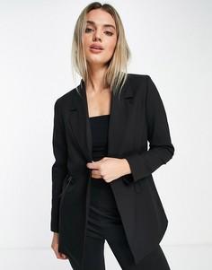 Черный блейзер с затягивающимся шнурком с фиксаторами на талии Selected Femme-Черный цвет