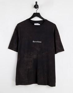 """Черная oversized-футболка с надписью """"Barcelona"""" на груди Topman-Черный цвет"""