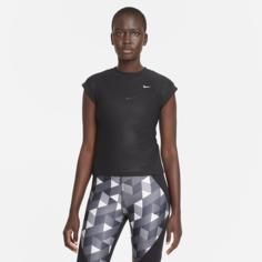 Женская теннисная футболка с коротким рукавом Serena Design Crew - Черный Nike