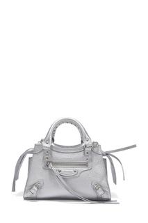 Серебристая кожаная сумка Neo Classic City Mini Balenciaga