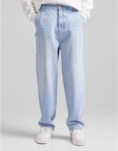Синие рабочие джинсы с широкими штанинами Bershka-Голубой