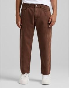 Коричневые укороченные джинсы с прямыми штанинами Bershka-Коричневый цвет