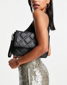 Клатч черного цвета со стеганой отделкой и ремешком на запястье Accessorize-Черный цвет
