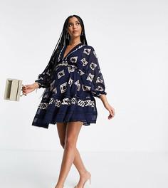 Платье мини с вышивкой и пышными рукавами на манжетах ASOS DESIGN Maternity-Голубой