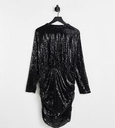 Эксклюзивное черное платье мини «2 в 1» с высоким воротником и пайетками In The Style Plus-Черный цвет