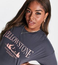 """Oversized-футболка с принтом """"Yellowstone"""" темно-серого выбеленного цвета ASOS DESIGN Curve-Зеленый цвет"""