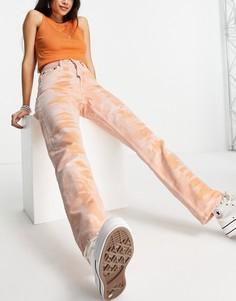 Оранжевые джинсы в винтажном стиле с принтом тай-дай Topshop-Оранжевый цвет