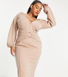 Серо-коричневое платье-футляр миди с длинными рукавами, чашечками и кольцом ASOS DESIGN Curve-Разноцветный