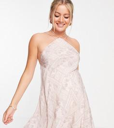 Платье мини в форме трапеции на бретельках с высоким воротником и плиточным принтом ASOS DESIGN Maternity-Разноцветный