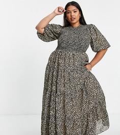 Ярусное платье макси со сборками и звериным принтом ASOS DESIGN Curve-Разноцветный