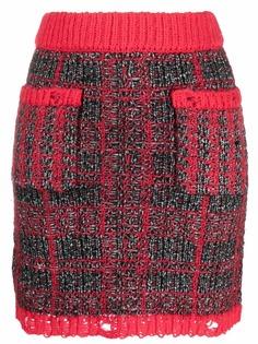 Pinko твидовая юбка с эффектом потертости