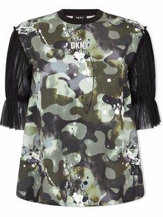 Dkny Kids футболка с камуфляжным принтом и рукавами из тюля