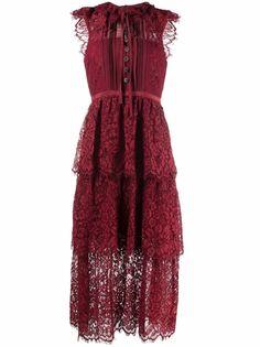 Self-Portrait платье миди с кружевными оборками