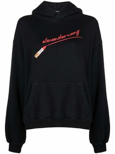 Alexander Wang lipstick logo-embroidered relaxed-fit hoodie