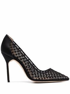 Manolo Blahnik кружевные туфли-лодочки на каблуке
