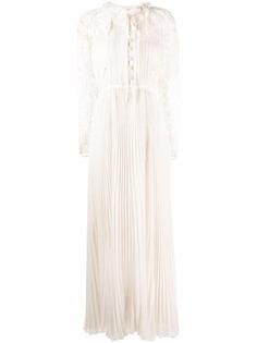 Self-Portrait платье с длинными рукавами и кружевом