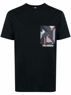 Karl Lagerfeld футболка с карманом и принтом