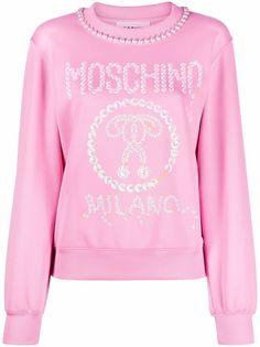 Moschino платье-толстовка с искусственным жемчугом и логотипом