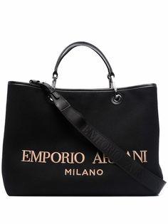 Emporio Armani объемная сумка-тоут с вышитым логотипом