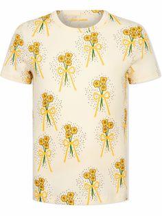 Mini Rodini футболка из органического хлопка с цветочным принтом