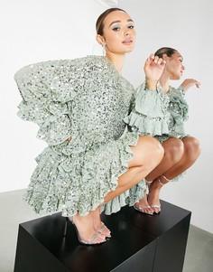 Бледно-зеленое платье мини с оборками, пайетками и присборенной юбкой ASOS EDITION-Зеленый цвет