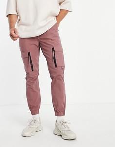 Розовые облегающие брюки карго с деталями на молнии Topman-Розовый цвет