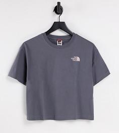 Серая укороченная футболка с розоватым логотипом The North Face Simple Dome – эксклюзивно на ASOS-Серый