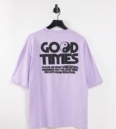 """Сиреневая oversized-футболка с принтом """"Good Times"""" на спине Bershka-Фиолетовый цвет"""