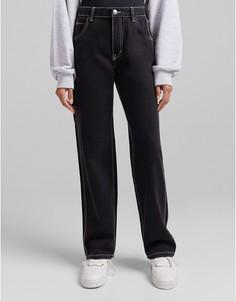 Широкие черные джинсы карго с контрастными швами Bershka-Черный цвет