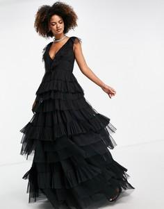 Черное многоярусное платье макси из тюля Lace & Beads-Черный цвет