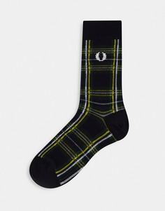 Черные носки в шотландскую клетку тартан Fred Perry Stewart-Черный цвет