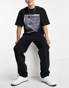 Черные свободные джинсы Bershka-Черный цвет