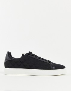 Черные кожаные кроссовки с ярлычком с логотипом на пятке Emporio Armani-Черный цвет