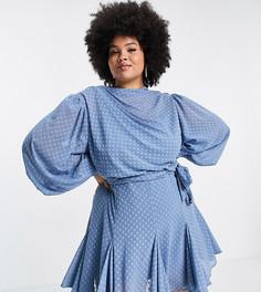 Платье мини со складками, высокой горловиной и юбкой годе ASOS DESIGN Curve-Голубой
