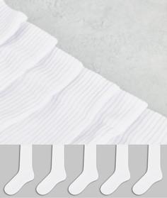 Набор из 5 пар белых спортивных носков ASOS DESIGN - Скидка-Белый
