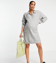 Трикотажное платье мини с открытым воротником серого цвета ASOS DESIGN Maternity-Серый
