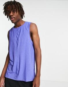 Синяя меланжевая майка Nike Yoga Dri-FIT-Голубой