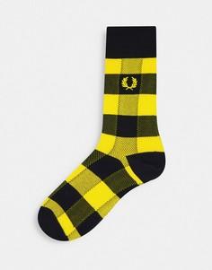 Желтые носки в клетку Fred Perry-Желтый