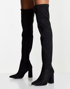 Черные ботфортына высоком каблуке Truffle Collection-Черный цвет