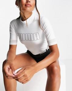 Белая укороченная футболка с воротником-стойкой Puma Training Eversculpt-Белый