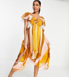 Полосатое платье миди с оборками и шнуровкой спереди ASOS DESIGN Maternity-Разноцветный