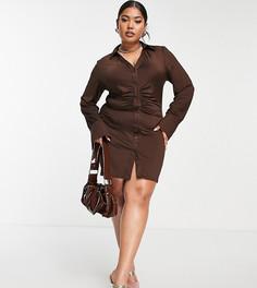 Коричневое платье-рубашка со сборками Public Desire Curve-Коричневый цвет