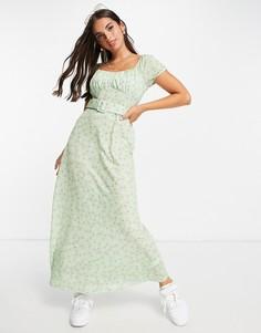 Зеленое платье макси с чашечками, поясом и мелким цветочным принтом ASOS DESIGN-Разноцветный